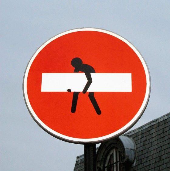 creatief met verkeersborden...