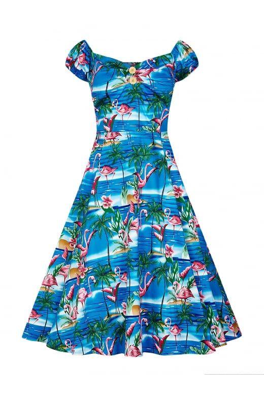 Retro Tiki, Tropical, Hawaiian Style Dresses Collectif Mainline Dolores Flamingo Island Doll Dress £55.00 AT vintagedancer.com