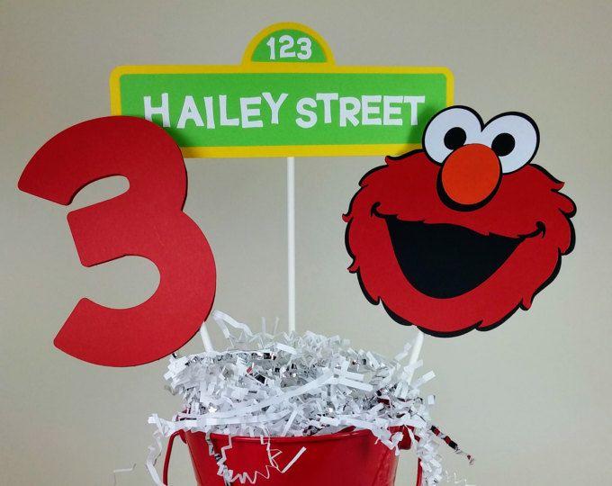 Centro de mesa de Elmo, Elmo cumpleaños, personalizados decoraciones de Elmo, cumpleaños de Sesame Street, Elmo