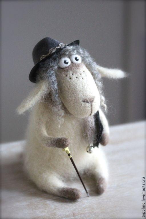Купить Барашек Соломон - фелтинг, валяная игрушка, войлочная игрушка, барашек игрушка, авторская игрушка