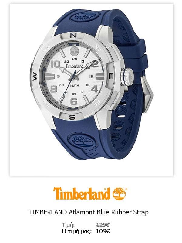 TIMBERLAND Atlamont Blue Rubber Strap  13849JS-04  Δείτε όλες τις λεπτομέρειες του ρολογιού εδώ   http://www.oroloi.gr/product_info.php?products_id=31668