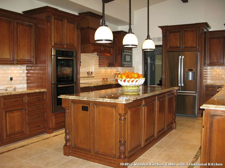 1940'S Wooden Kitchen Table with Traditional Kitchen