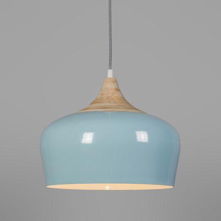 Pendelleuchte Pine Hellblau Edle Mit Weissem Schirm Aus Aluminium Kombiniert Raffinierten Details Holz Und Textilkabel