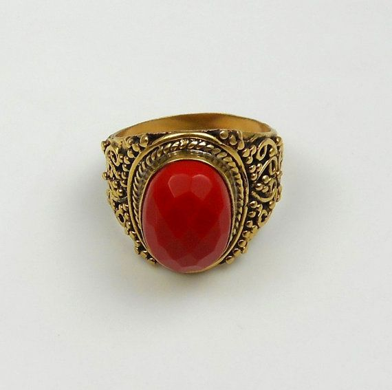 Red Coral brass ring edelsteen ringen Gypsy ringen door naharganesh