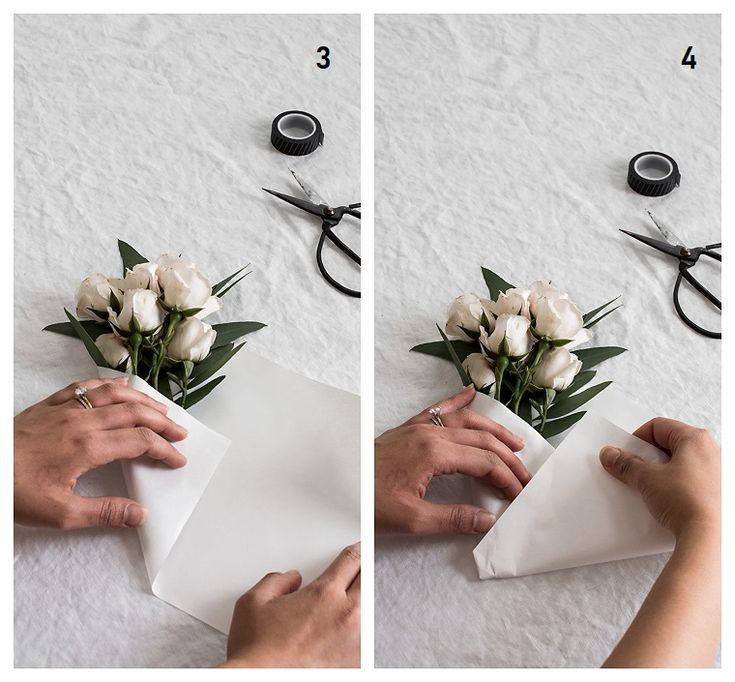 Mutter Geschenkideen, wie man einen Blumenstrauß macht, Blumen mit weißen Blütenblättern