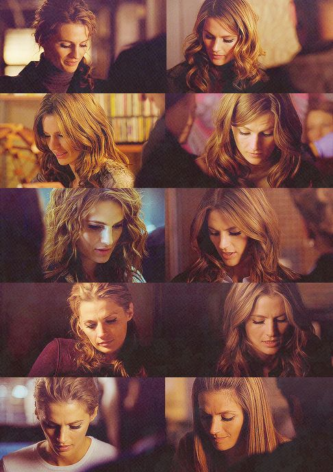 downcast eyes - (or as Lacey says: the many hairstyles of Kate Beckett.  Clearly she has someone to help her with her hair, and in the first one she looks like a poodle.  But its all good.)