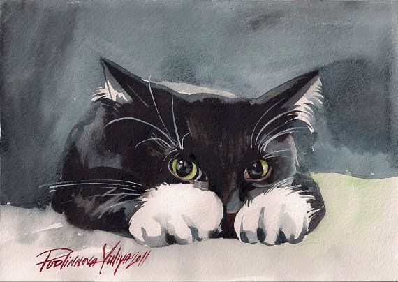 """Print of the Original Watercolor Art Painting Tuxedo Cat Picture Black and White Cat """"Sneaky Kitty"""" by 'Yuliya Podlinnova' of 'creativeartistic' on Etsy♥•♥•♥"""