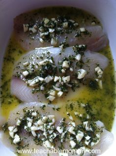 Baked Tilapia with olive oil, lemon, parsley, and garlic.