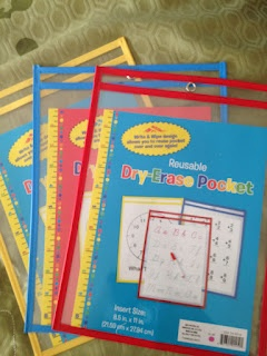 Dry erase pockets--best thing ever from Target's Dollar Spot!!!!