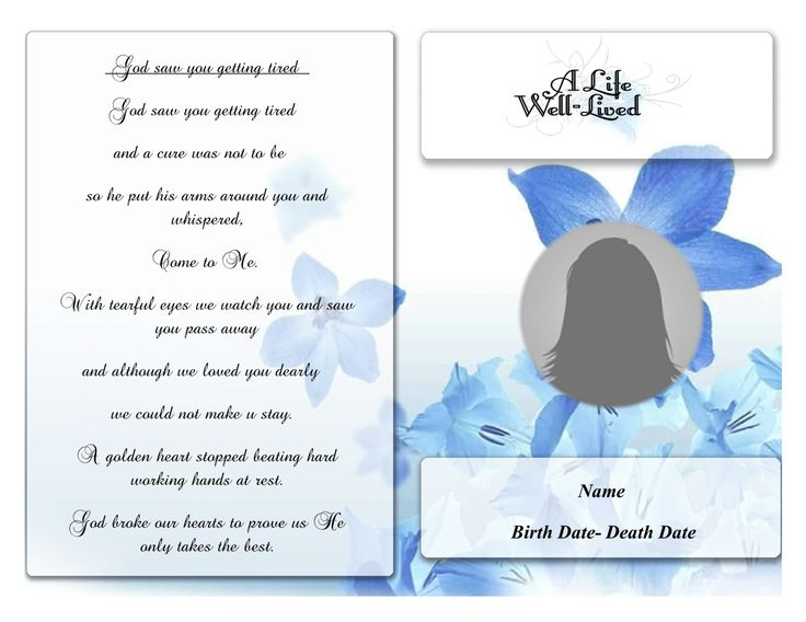 91 best Funeral Program Template images on Pinterest Christmas - free funeral program template microsoft word