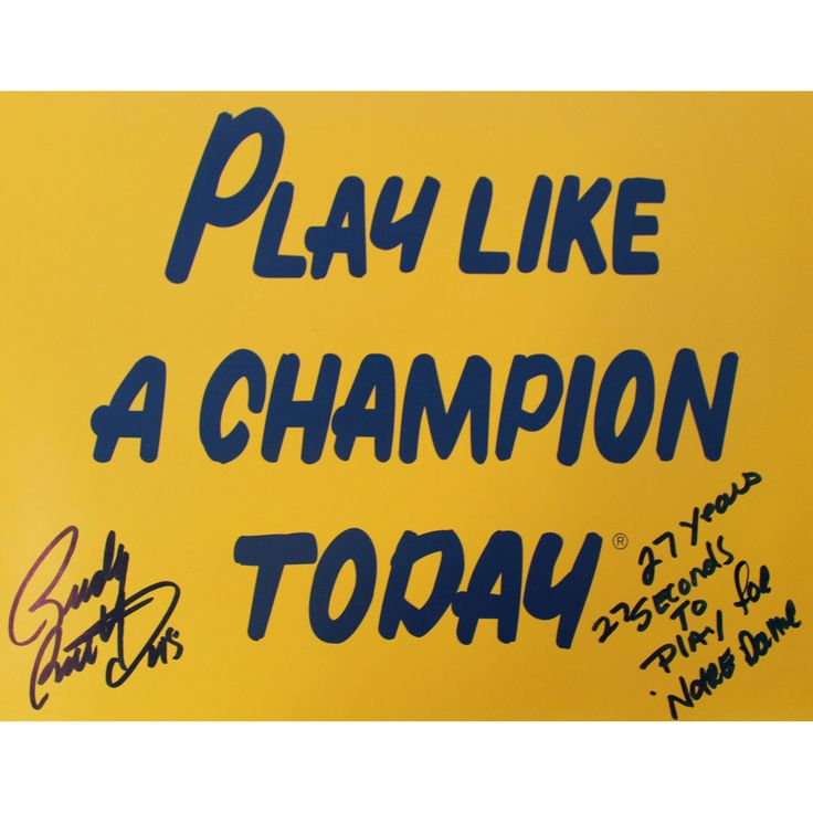 Rudy Ruettiger Signed Play Like a Champion Today 8x10 Photo w 27 Years 27 Seconds To Play For Notre Dame insc - Rudy Ruettiger personally hand-signed this 8x10 Play Like a Champion Today! Sign and inscribed it 27 Years 27 Seconds To Play For Notre Dame. An undersized kid with over-sized dreams Rudy repeatedly was told he was too small to play football. While at Notre Dame Ruettiger was part of the scout team and on the last play of the final game of his senior year Rudy finally was put in…