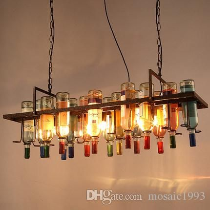 E27 Recycled Retro Hanging Wine Bottle Pendant Lamps Light With Edison Bulb For Dining Room