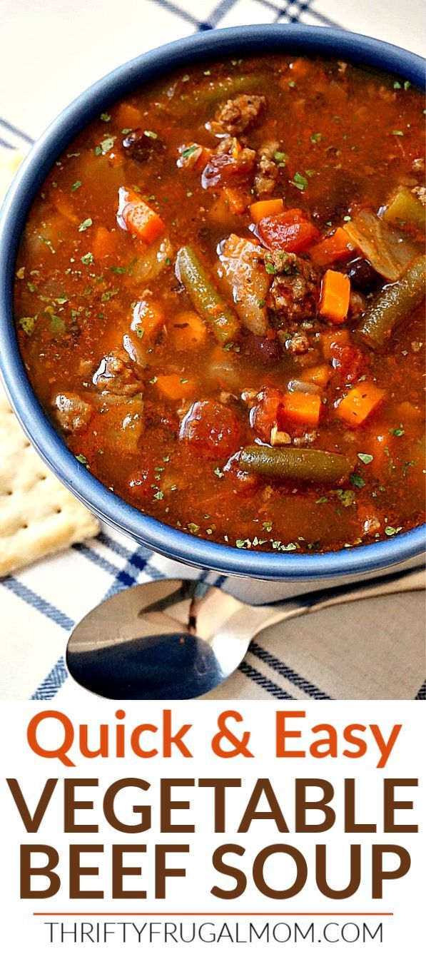 Easy Vegetable Beef Soup A 30 Minute Meal Recipe In 2020 Easy Vegetable Beef Soup Beef Soup Recipes Vegetable Beef Soup