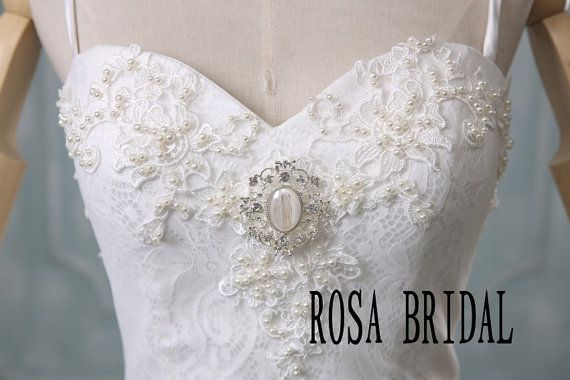 Cathedral wedding dress Lace Vintage wedding dress by rosabridal