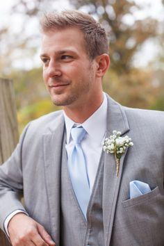 Grey Suit with Light Blue Tie and Baby's Breath Boutonniere|Powder Blue & White Shabby Chic Wedding at Davies Manor Plantation|Photographer:  Michael Allen Photography