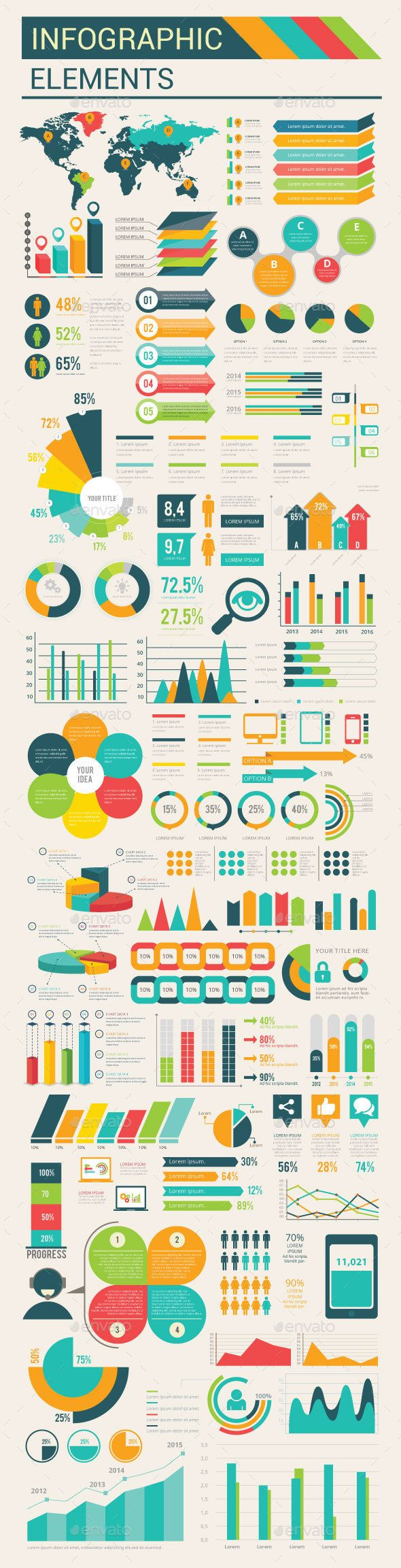 Infographic Flat Elements Template Vector EPS, AI. Download here: http://graphicriver.net/item/infographic-flat-elements/15208092?ref=ksioks