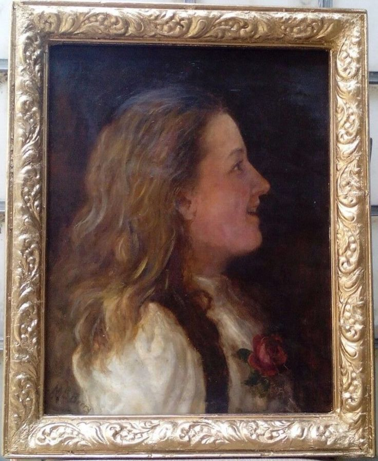Portrait , Oil painting on canvas , Signed , by M.E.Berry.
