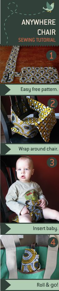 The Anywhere Chair turns a regular chair into a high chair. It rolls up to fit in a diaper bag, and is machine washable. Take it along when you visit Grandma or go to a restaurant.: Shower Gifts, Diapers Bags, Baby Seats, Chairs Turning, Baby Chairs, High Chairs, Sewing Tutorials, Regular Chairs, Baby Shower