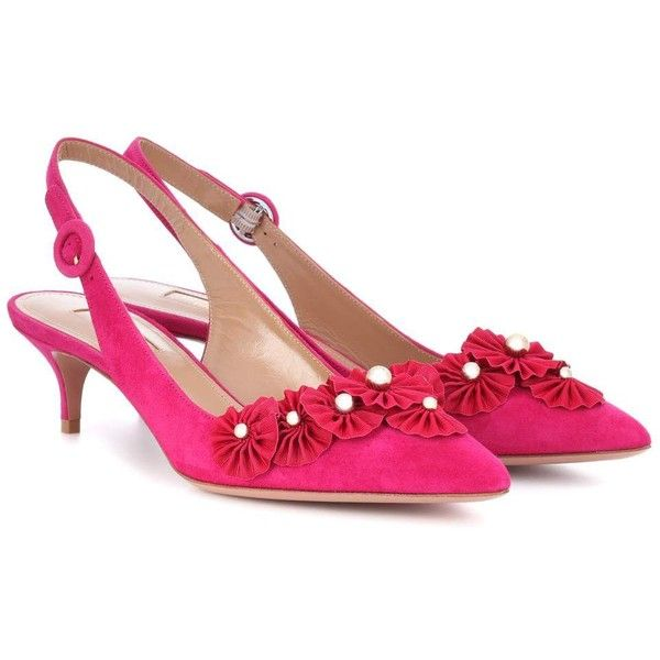 Aquazzura Exotic 45 Suede Slingback Pumps ($750) ❤ liked on Polyvore featuring shoes, pumps, pink, suede slingback pumps, slingback pumps, pink slingbacks, aquazzura shoes and aquazzura