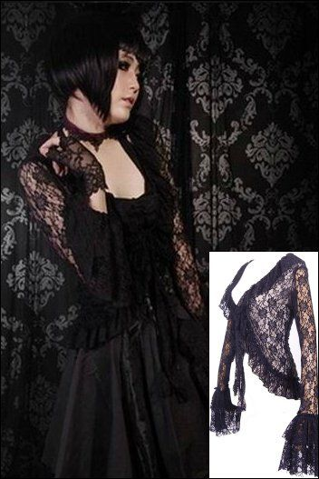 Black Lace Frilly Longsleeve Cardigan Blouse