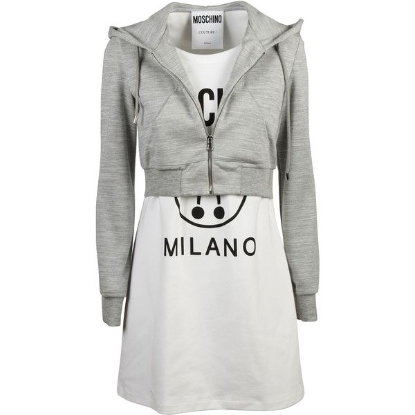 Two Piece Effect Hooded Dress (£325) ❤ liked on Polyvore featuring dresses, womenclothingdresses, grey long sleeve dress, 2 piece short dresses, two-piece dresses, gray long sleeve dress and long sleeve short dress