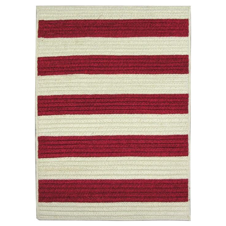 Nautical Patio Rug: Nautical Stripe Red Indoor/ Outdoor Runner Rug (2' X 9