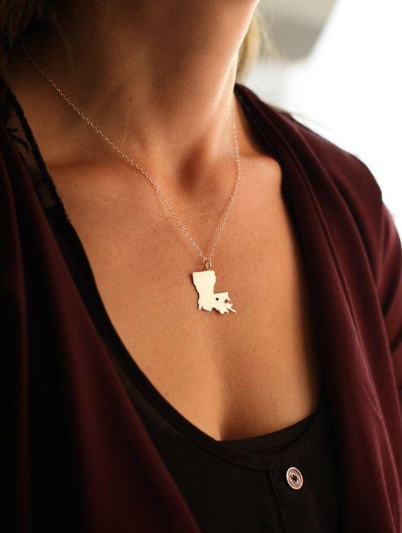 Louisiana State Charm Jewelry - Louisiana Jewelry - New Orleans Jewelry - LA Necklace - Engraved Pendant - Custom Cutout Charm Her