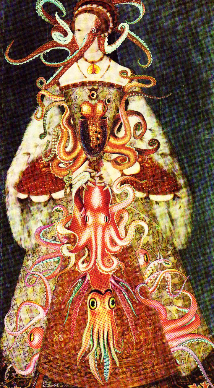 'Oceanic Octarine'  Analog collage art by Dystopian Paper Ballads.  #collage #collageart #analogcollage #paperart #handmade #surrealism #octopus