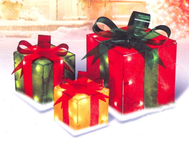 New 3 Piece Glistening Gift Box Lighted Christmas Season Yard Art Decoration Set