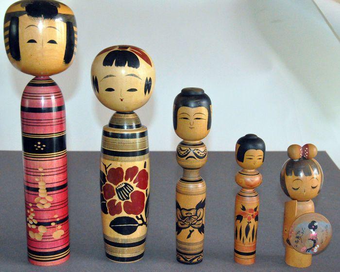 Vijf kokeshipoppen - Japan - 1970 - Catawiki