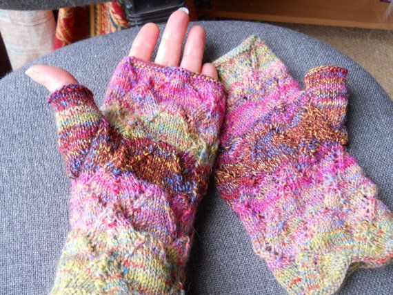 Lovely lacy  multi coloured ladies fingerless gloves  by beaulyben