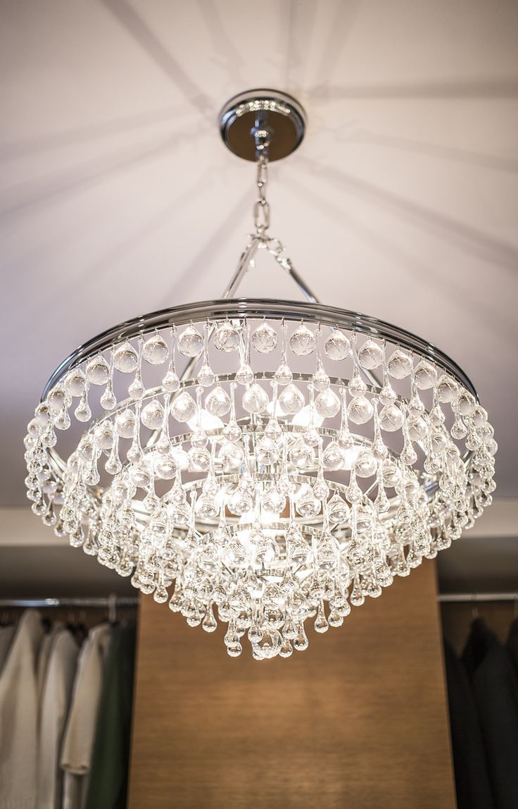 Chandelier in custom closet