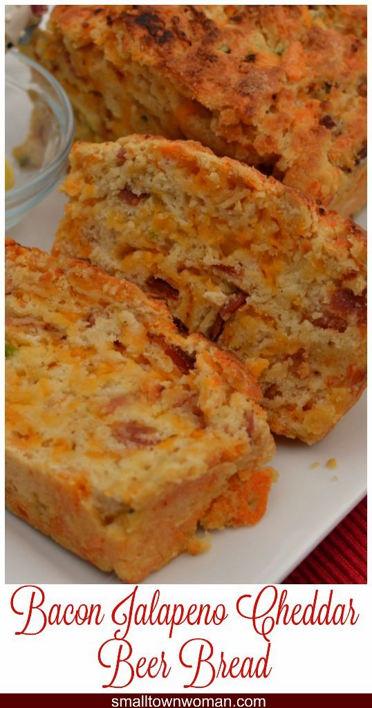 Bacon Jalapeno Cheddar Beer Bread has pieces of crispy smoked bacon, flavorful mildly spicy jalapenos, and a generous portion of sharp cheddar all wrapped up in a moist loaf that is really hard to stop eating!