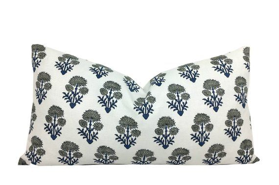 Artisan Textile Pillow Cover Featuring A Blue And Grey Flowers On White Linen Lumbar Sizes Hand Block Gray Floral Pillows Floral Pillow Cover Floral Pillows