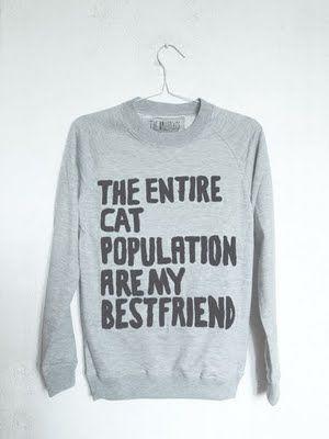 enough said @Rachel Hendrie @Stephanie Lawson Friends Love, Best Friends, Christmas Presents, Catlady, My Life, So True, Lady Day, Crazy Cat Lady, Cat Sweatshirts