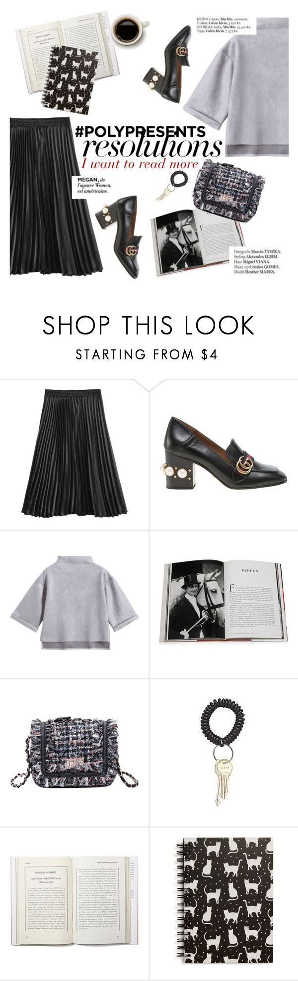 """#PolyPresents: New Year's Resolutions"" by punnky ❤ liked on Polyvore featuring Gucci, Assouline Publishing, Tri-coastal Design, Haute Hippie, contestentry and polyPresents"