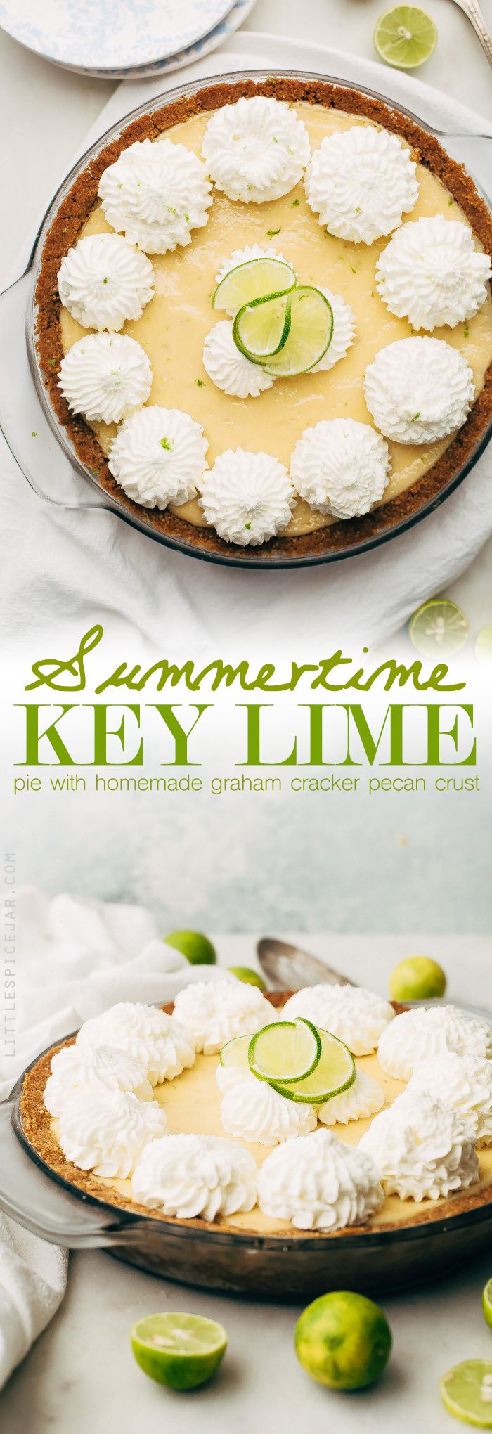 Homemade key lime pie with homemade graham cracker crust. I use 2 special ingredients in my crust that gives my key lime pie an irresistible flavor!