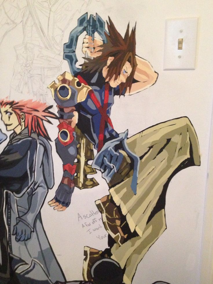 Kingdom Hearts Mural. Did the rest of the colours at once. At least skin colour is easy to make now. I found a cream coloured paint that turns into the perfect colour after being mixed with a bit of orange.