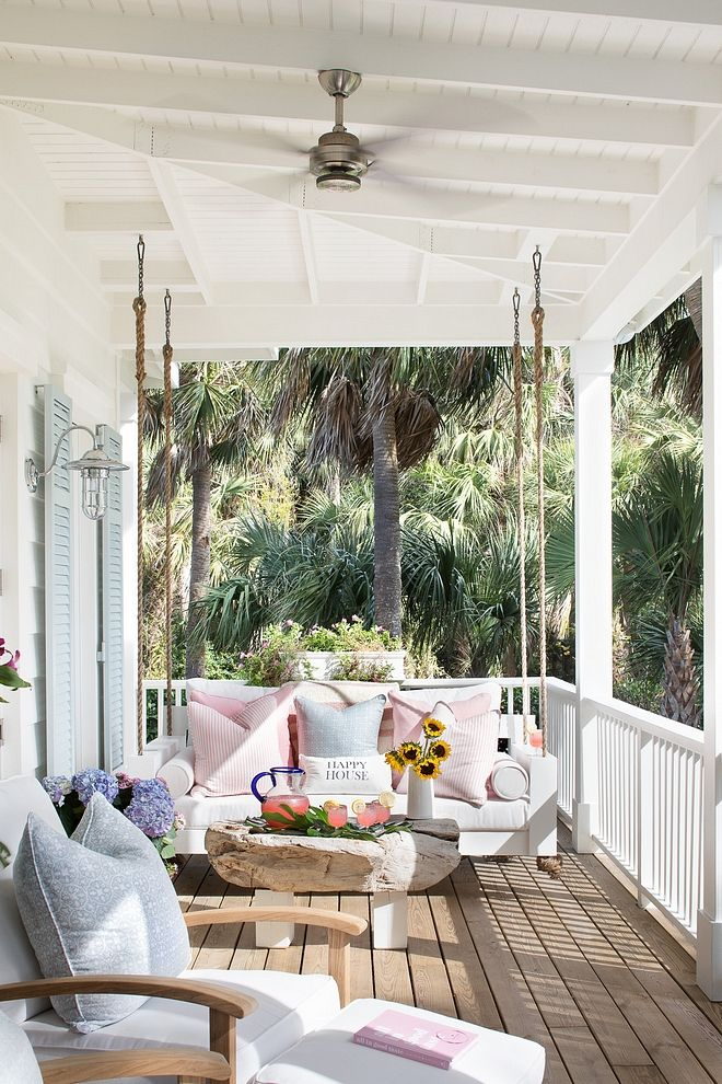 Porch Swing White Porch Swing Beach house Porch Sw…