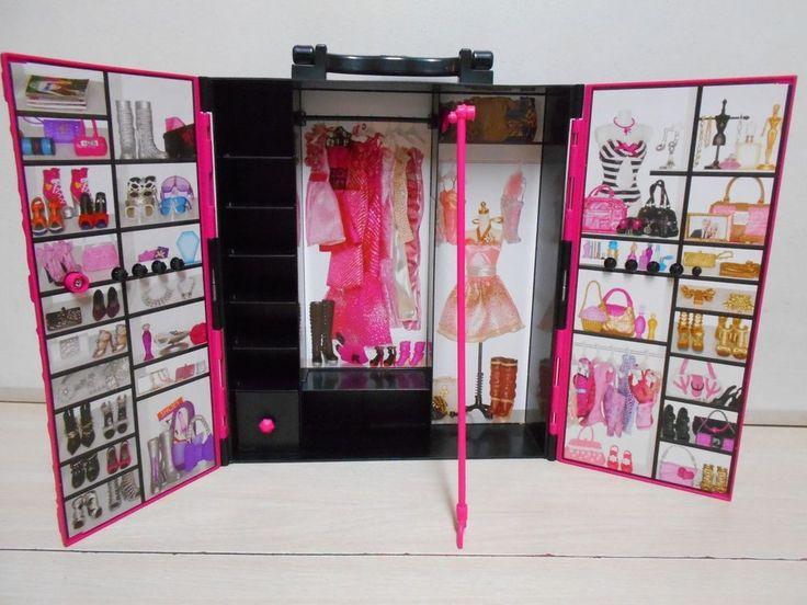 Mattel Barbie's Wardrobe Closet & Wardrobe Shelves W/FREE Standard Barbie…