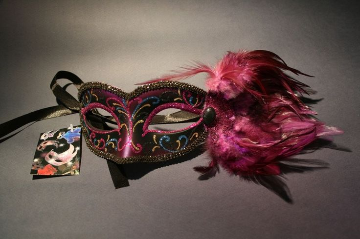 Venetian Mask with Handpainted Decoration of Glitter, Paint & Feathers - New!