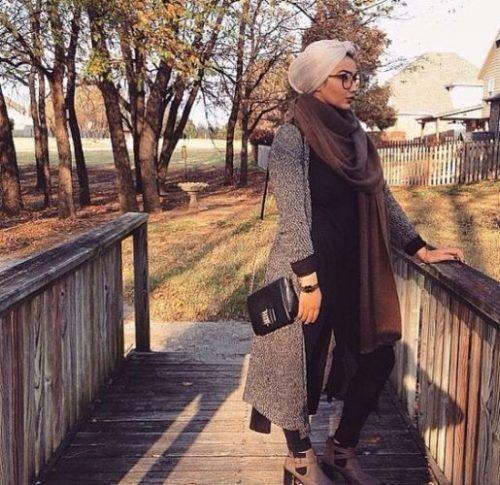 fall-hijab-grey-coat- Ootd hijab styles http://www.justtrendygirls.com/ootd-hijab-styles/