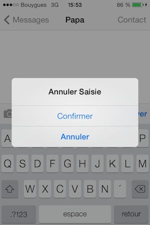 Secouez l'iphone pour annuler la saisie du texte iphone