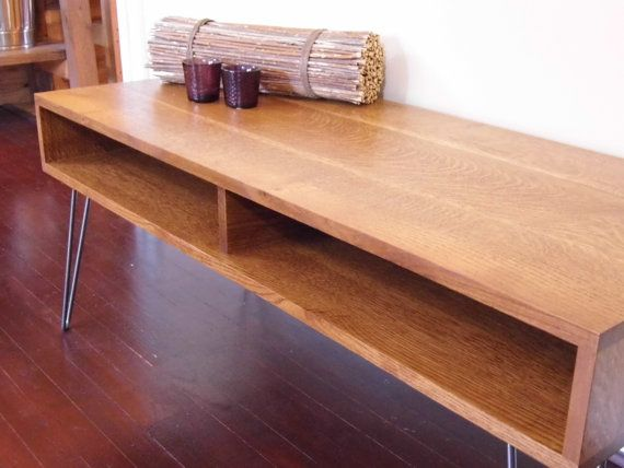 Mid Century Modern Quarter Sawn White Oak Coffee Table / Desk With Hairpin  Legs On Etsy