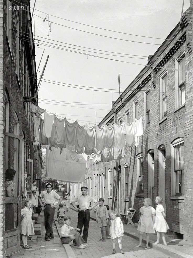 "July 1938. ""Housing conditions in Ambridge, Pa. Home of American Bridge Co."" Photo by Arthur Rothstein for the Resettlement Administration."