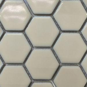 Vanilla Hexagonal Mosaic Tiles 48mm - Tiles - Surface Gallery #hexagonmosaics #hexagonalmosaics