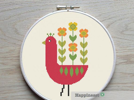 borduurpatroon retro bloemen kip PDF patroon direct door Happinesst