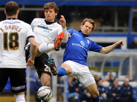 Jonathan Spector gets stuck in against Derby County. March 2013. #BCFC