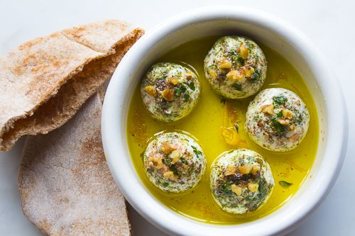 Lebneh Balls - Yogurt Cheese with Herbs, Spices, Walnuts and Olive Oil ~ Delicious protein-packed yogurt cheese balls with herbs, spices, lemon rind and crunchy walnuts. See the recipe: http://azestforlife.com/recipe/lebneh-balls-yogurt-cheese-herbs-spices-walnuts-and-olive-oil