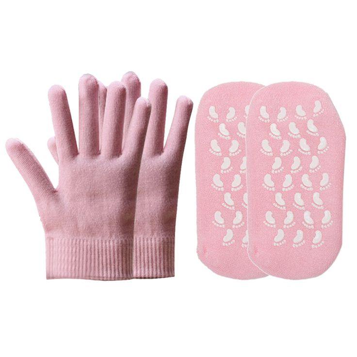 Reusable SPA Gel Socks Gloves Moisturizing Whitening Exfoliating Foot Mask Ageless Beauty Hand Mask Foot Care Silicone Socks